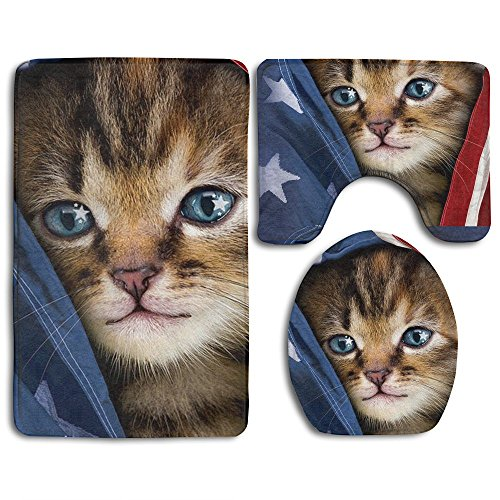 MERCURY Microfiber Bathroom Contour Rugs Combo 3D Pattern Cat In USA Flag 3-Piece Sets Toilet Mat Non Slip Shower Floor Rugs Pedestal Rug + Lid Toilet Cover + Bath Mat Mercury Hand Woven Rug