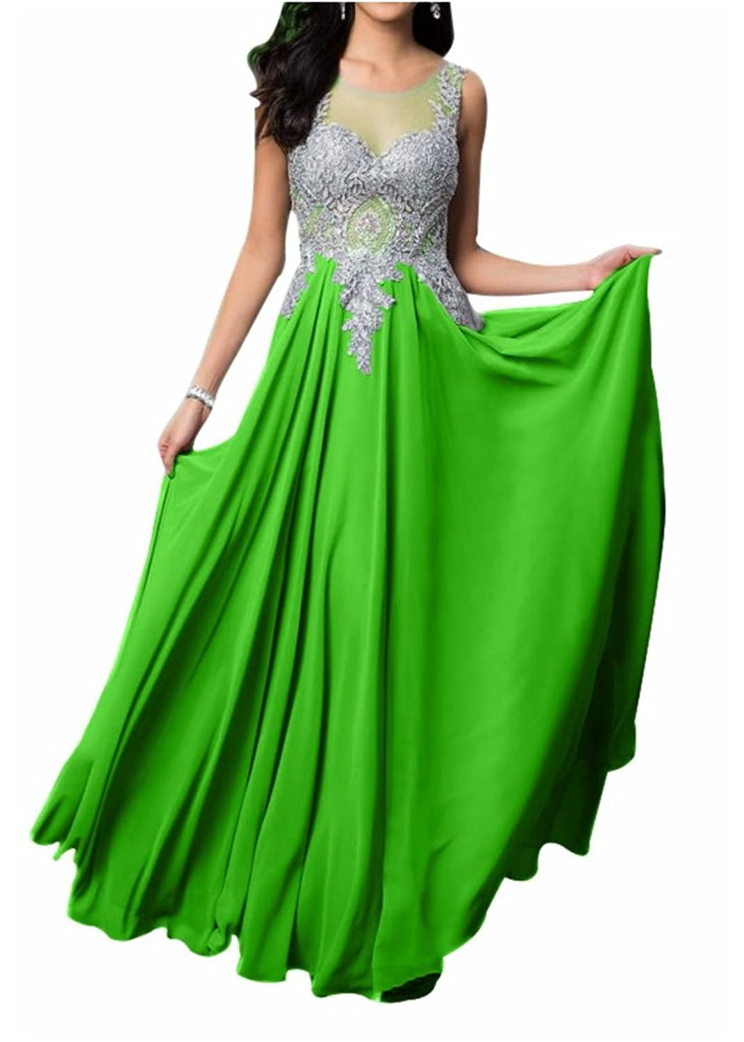 Charm Bridal Chiffon Long Women Summer Evening Wedding Party Dress with Applique