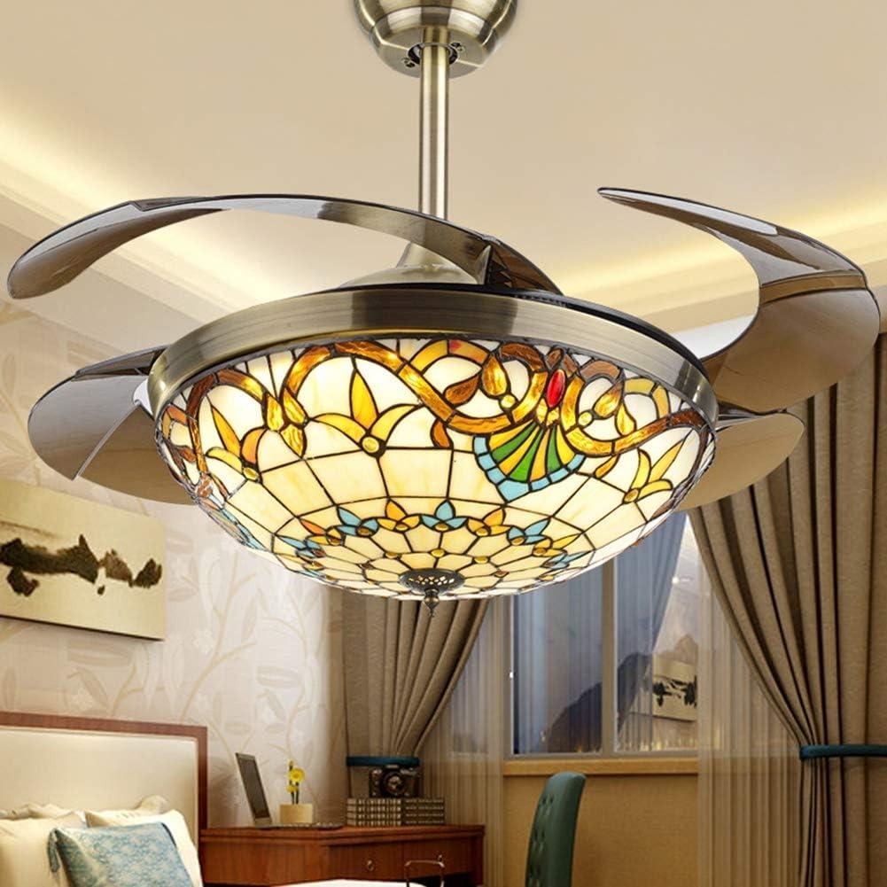 Ventilador de techo Tiffany con luz, lámpara de techo de metal Lámpara de techo con control remoto LED de 42 pulgadas con ventilador de iluminación de aspa retráctil ajustable,Opaque blades