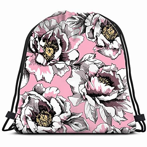image peony pastel splendor flower nature Drawstring Backpack Gym Sack Lightweight Bag Water Resistant Gym Backpack for Women&Men for Sports,Travelling,Hiking,Camping,Shopping -
