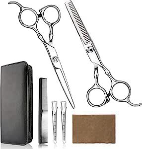 VANWALK Haarschaarset, professionele kappersschaar, 2 premium scherpe haarknipschaar, home tondeuse kit met kapmantel voor mannen, vrouwen, kinderen, zilver