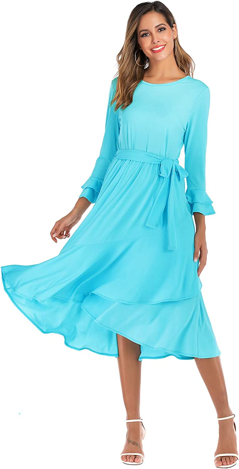 Alice CO Womens Plain Casual Round Neck Bell Sleeve Loose Flowy Dress with Belt