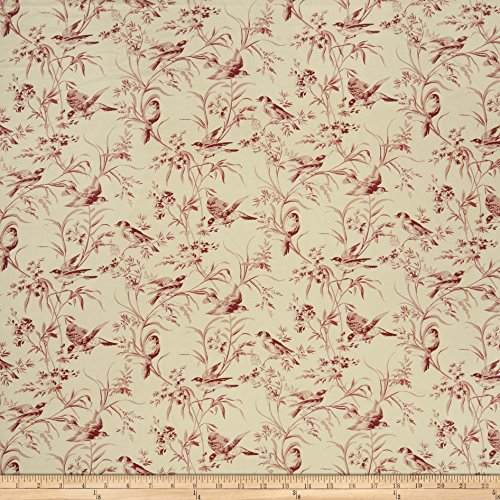 (French General Aviary Toile Linen Rouge Fabric by The)