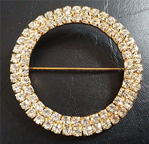 50pcs Metal pin Brooch Rhinestone for Wedding Events DIY, Chair Band/Bow/Hood/sash Buckle (Gold)