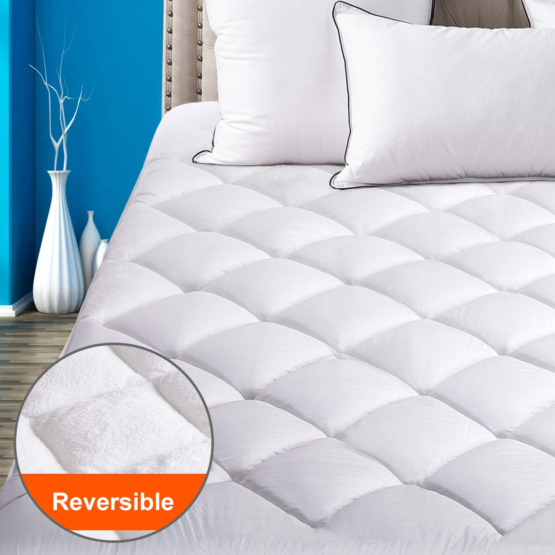"Reversible Mattress Pad Cover Queen Summer Cooling Mattress topper All-Season Sherpa Quilted Fitted Pillowtop with 8-21""Deep Pocket"