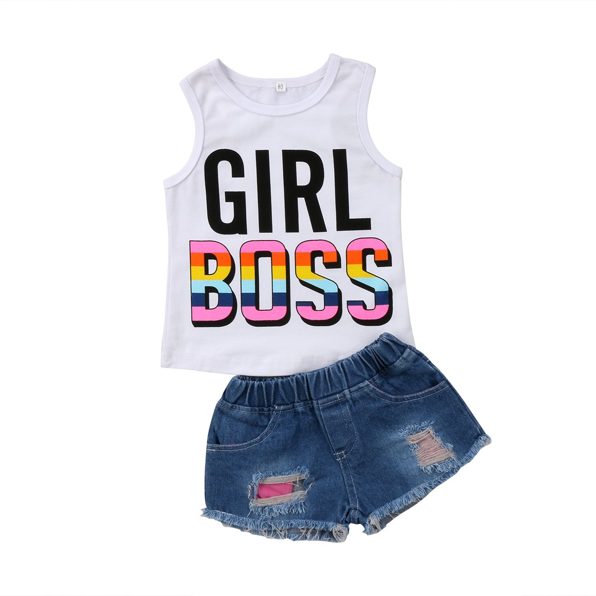 0a3cd1bd1063d Infant Baby Kids Girl Cotton Sleeveless Vest T-Shirt Tops+ Shorts Hole  Jeans Pants Trousers