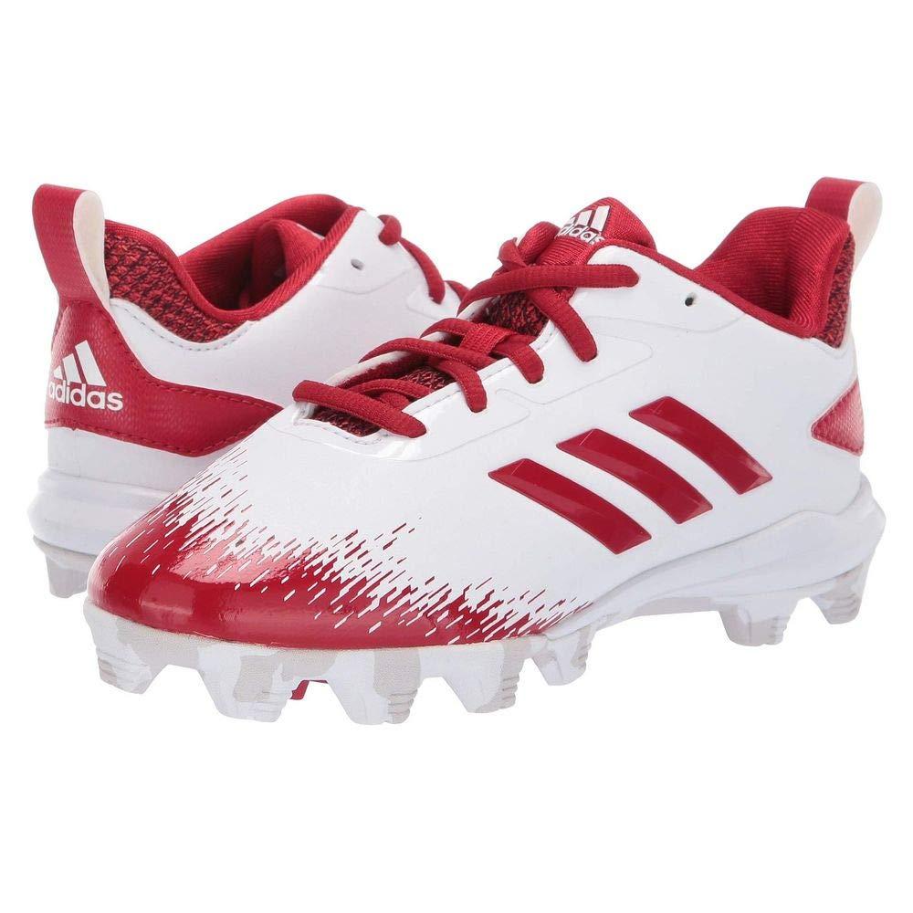adidas Unisex Adizero Afterburner V Baseball Shoe, White/Power red/Grey, 3 M US Little Kid by adidas
