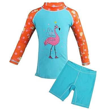 3828308c9ec9e Amazon.com  Girls Two-Piece Swimsuit Set UPF 50+ Sun Protection ...