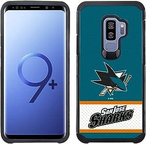 Prime Brands Group NHL-JE1-S9P-SJS Samsung Galaxy S9 Plus - NHL Licensed San Jose Sharks Blue Jersey Textured Back Cover on Black TPU Skin