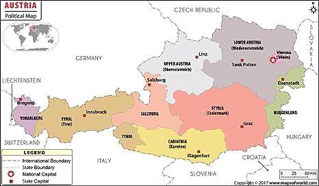 Mapa Politico De Austria.Amazon Com Austria Mapa Politico Laminado 36 W X 21 03