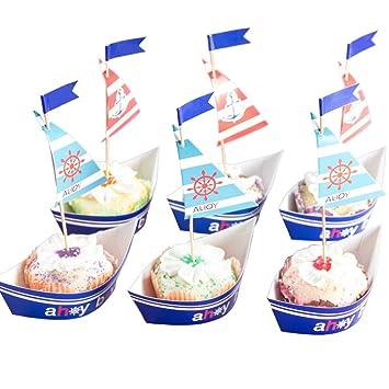 Sunbeauty 20 Segel Mottoparty Muffin Deko Cake Toppers Kuchendeko