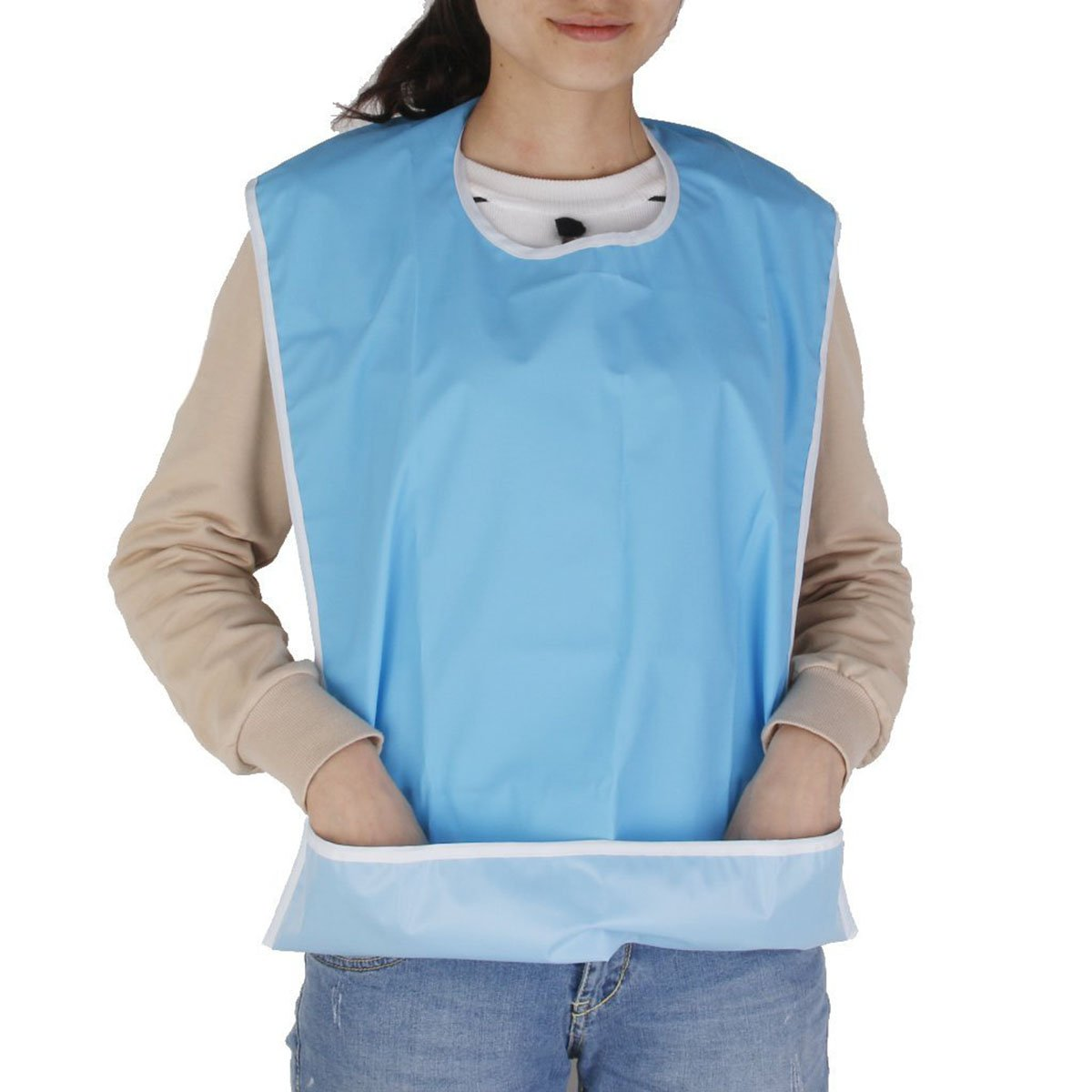 (Sky-blue) - NUOLUX Bib for Elderly Waterproof Mealtime Bib Protector Aid Apron (Light Blue)  スカイブルー B01M1YVW4F