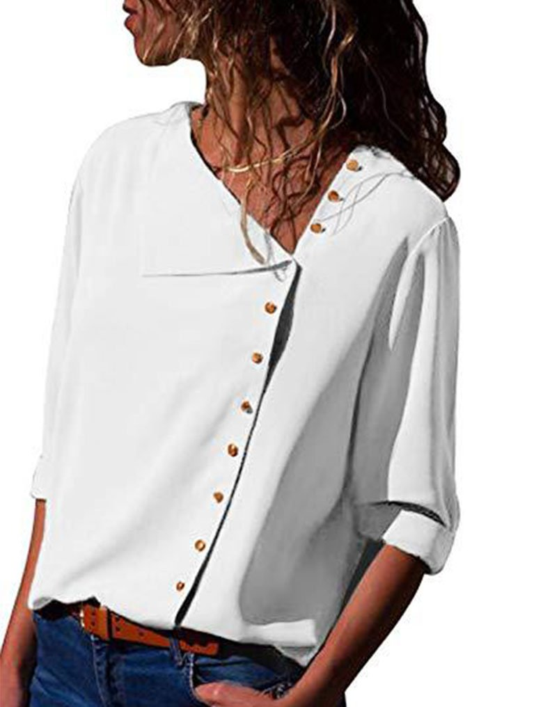 Lalala Womens Chiffon Button Front Long Sleeve Business Blouse Tops S,White