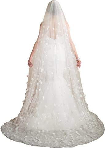 Newdeve White 3.5M 2T Wedding Veils for Bride Lace Edge Free Comb