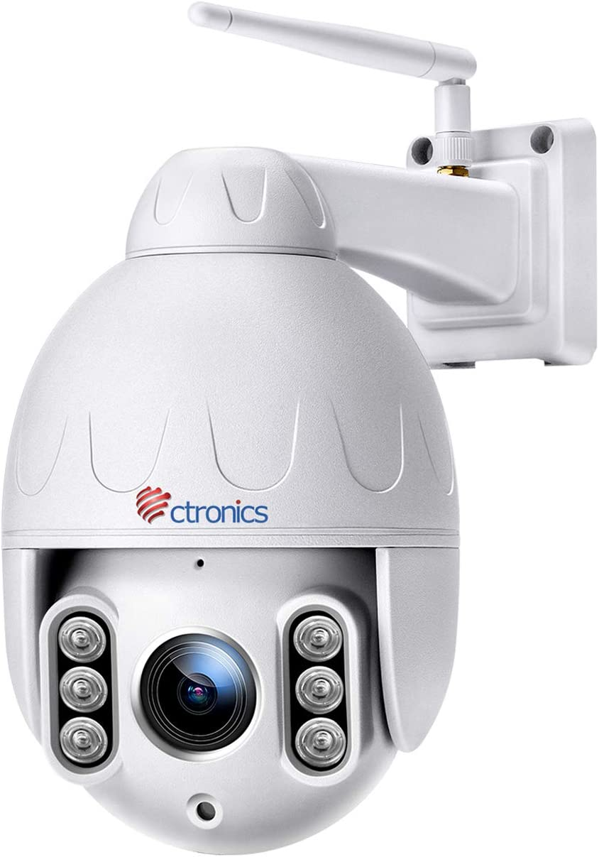 Ctronics 5MP PTZ Camera, 5X Optical Zoom WiFi Outdoor Security Camera Auto Tracking Camera, Pan/Tilt, 2 Way Audio, Motion Detection,165 feet Night Vision, IP66 Waterproof