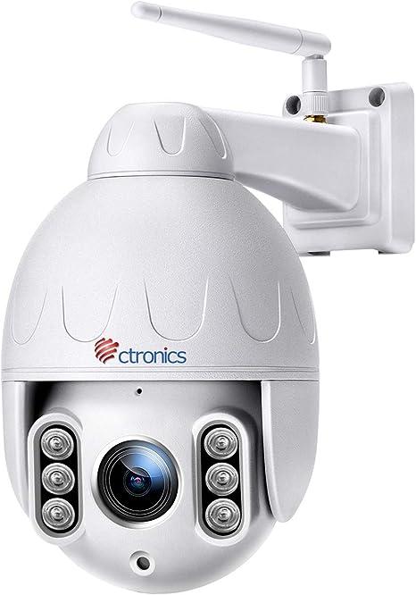Opinión sobre Ctronics Cámara de Seguridad WiFi Exterior - Cámara IP PTZ para Vigilancia del Hogar 1080P, Zoom Óptico 4X, Audio Bidereccional, Detección de Movimiento, Visión Nocturna a 50 m, Impermeable IP65