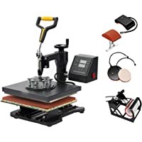 "SmarketBuy 5 in 1 Digital Multifunctional Heat Press Machine 12"" x 10"" Heat Transfer Machine for T Shirts Hat Mug Cap Plate (5in1)"