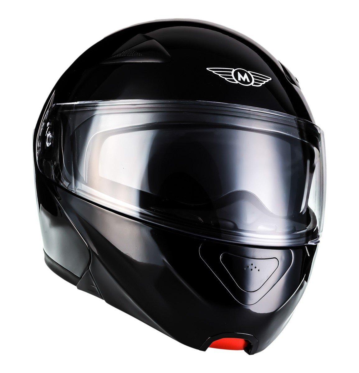 two Visors /· incl 53 Cloth Bag /· Black /· XS MOTO F19 Gloss Black /· Cruiser Scooter-Helmet Scooter-Helmet Flip-Up Helmet Motorcycle-Helmet Modular-Helmet Street Moto-Helmet Full-Face Helmet /· ECE certified /· incl