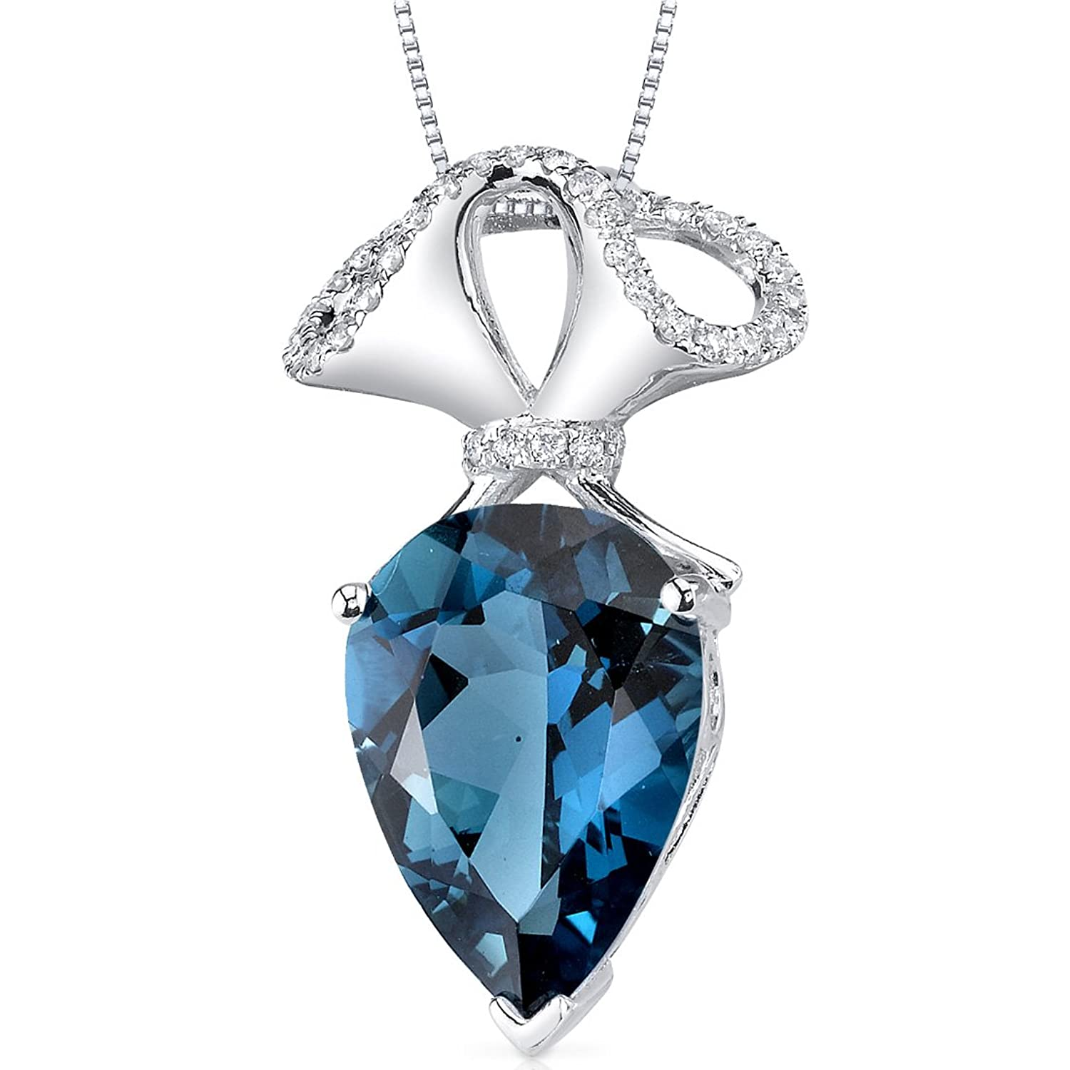 14 Karat White Gold Pear Shape 5.88 carats London Blue Topaz Diamond Pendant