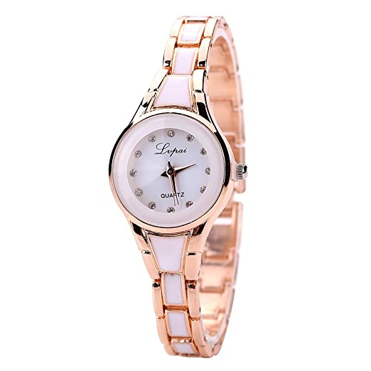 RLFS Golden + White Relojes Moda Mujer Marca Casual Fashion Alloy Bangle: Amazon.es: Relojes