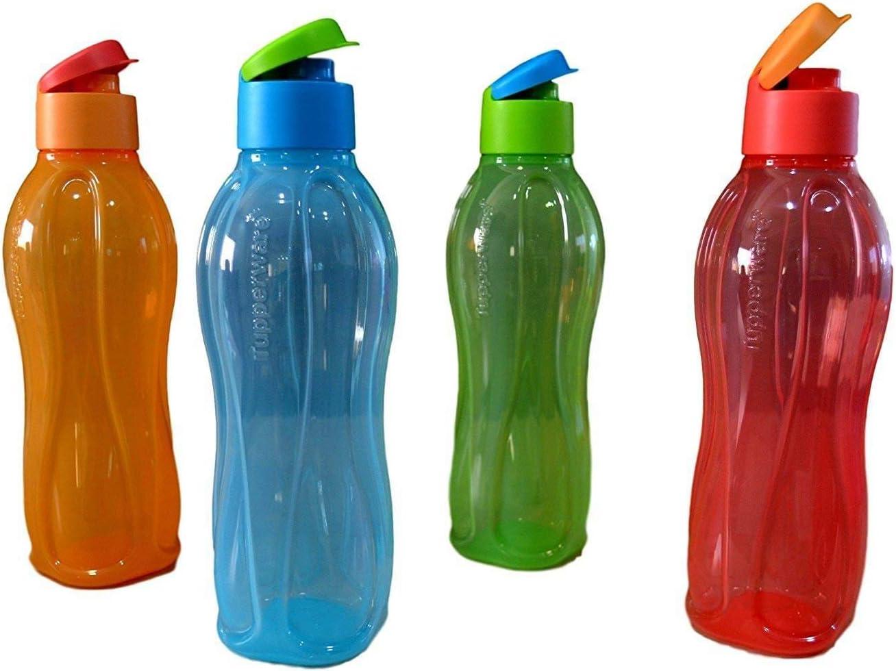 Tupperware Aquasafe Flip Top Bottle 1 L Each, Multicolor Set Of 4