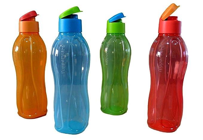 SCHWARZ 1L Tupperware EcoEasy Öko Flasche mit Flip-Top Klappverschluss