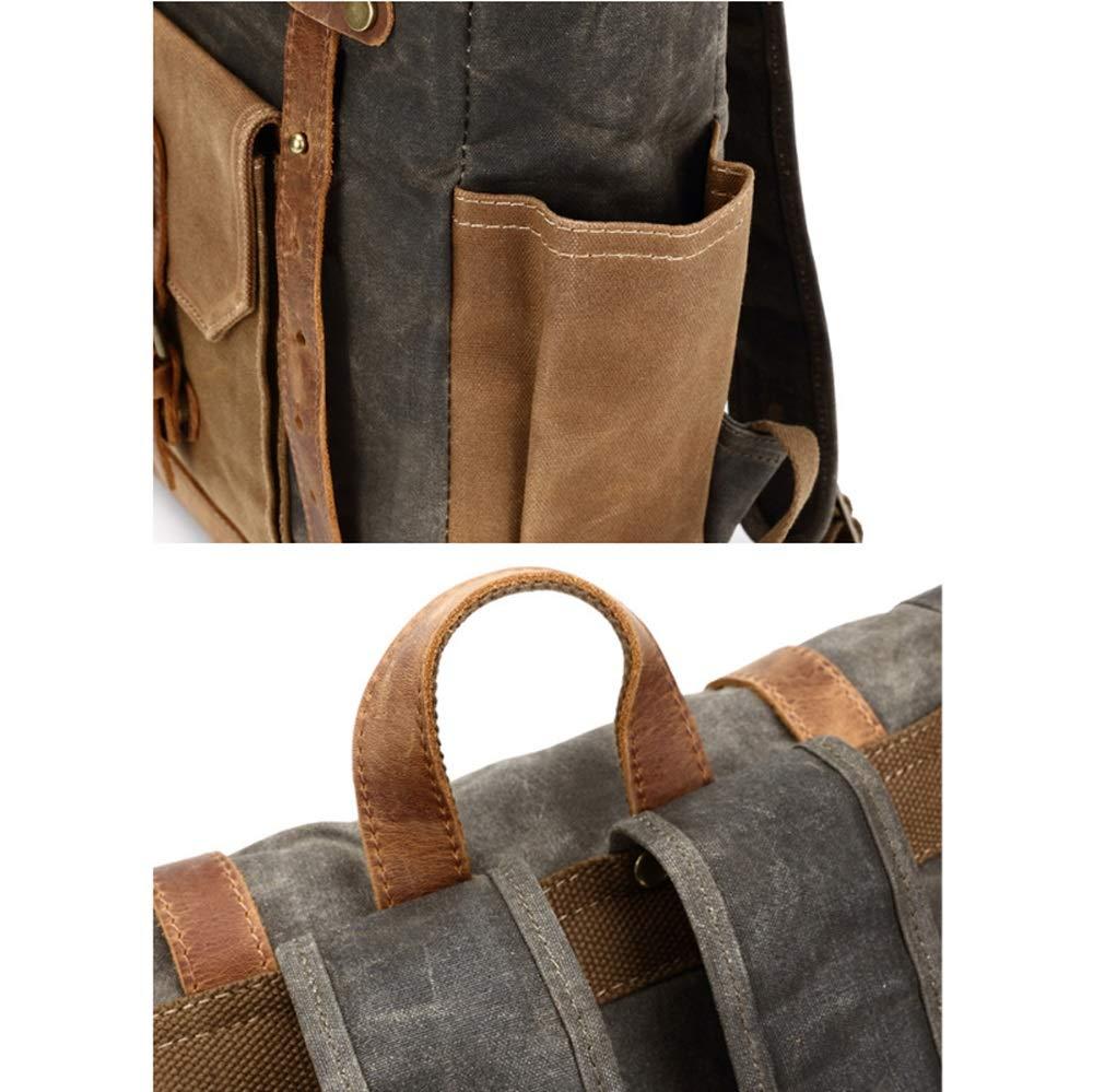 ZFF-Bag Retro /ölwachs wasserdichte Rucksack hit Farbe gro/ße kapazit/ät Outdoor m/änner Tasche leinwand Tasche reiserucksack Computer Tasche Color : ArmyGreen