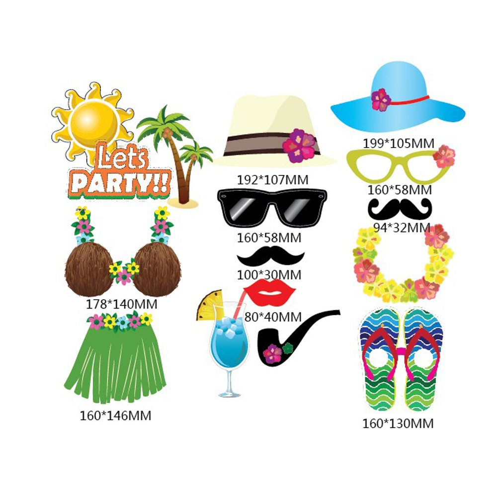 OULII Hawaiian Photo Booth Props Luau Party Toys for Summer Beach Pool Pack de 32