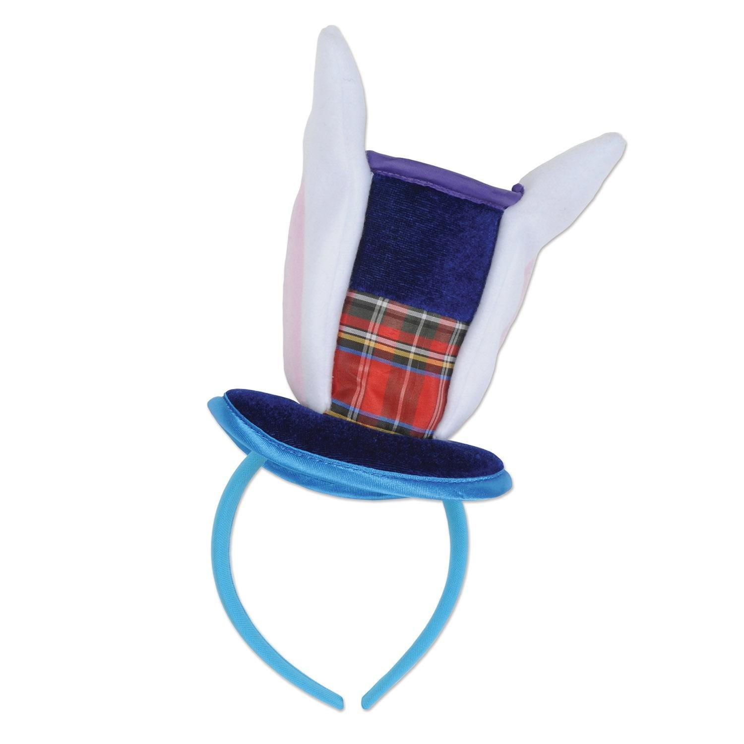 """Party Central Club Pack of 12 Blue and White Plush Bunny Top Hat with Ears Headband 6.5"""" by Party Central"""