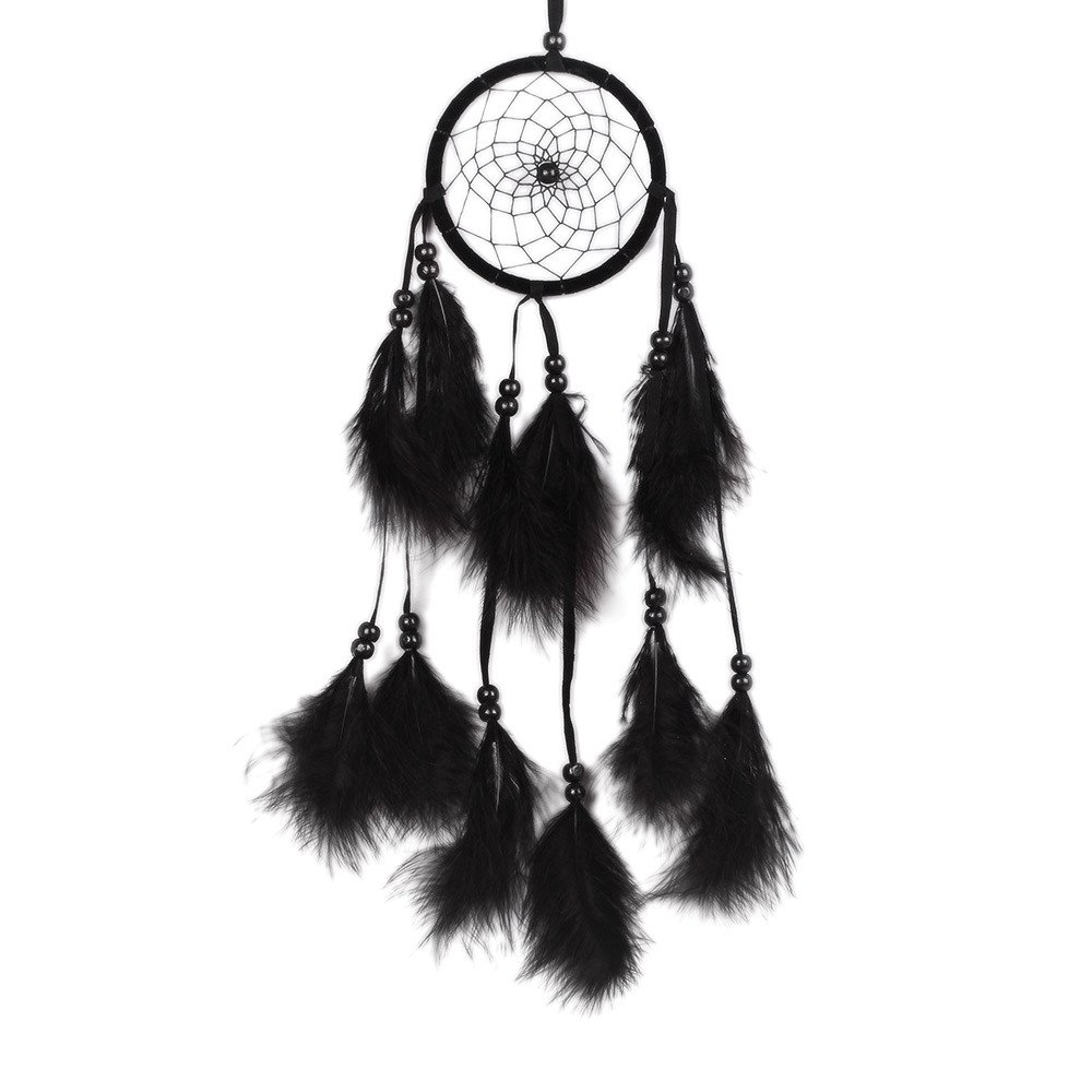 Mikey Store Dream Catcher Handmade Wall Hanging Home Decor, Home Hanging Craft, Girl Room Bell Bedroom Romantic Decoration (Black)