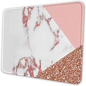 Pink White Marble Glitter Mouse Pad with Stitched Edge, Premium-Textured Mouse Mat, Non-Slip Rubber Base Mousepad for Laptop, Computer & PC, 10.3x8.3x0.03 inch