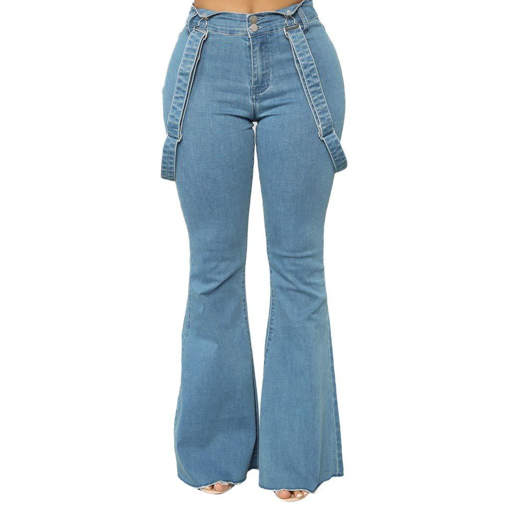Pervobs Women High Waist Zipper Jeans Button Strap Bell-Bottom Straight Wide Leg Pant Trousers(3XL, Blue)