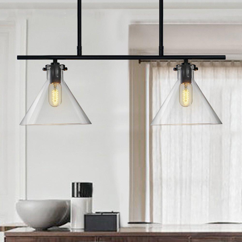 ZMH Pendelleuchte aus Glas Esszimmer-Hängelampe Pendellampe Hängeleuchte, E27 Leuchtmittel 2-Flammig inklusiv, Höhenverstellbar Deckenleuchte für Esszimmer/Wohnzimmer / Büro/cafe (2-flammig)