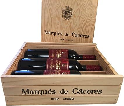 Caja de madera 3 botellas - Marqués de Caceres Crianza - Vino tinto: Amazon.es: Alimentación y bebidas