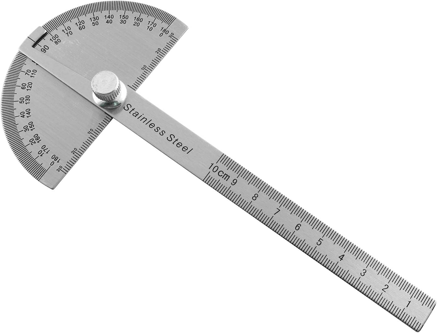 Protractor 1pc Stainless Steel 0 to 180 Degrees Arm Ruler Angle Measuring Tool