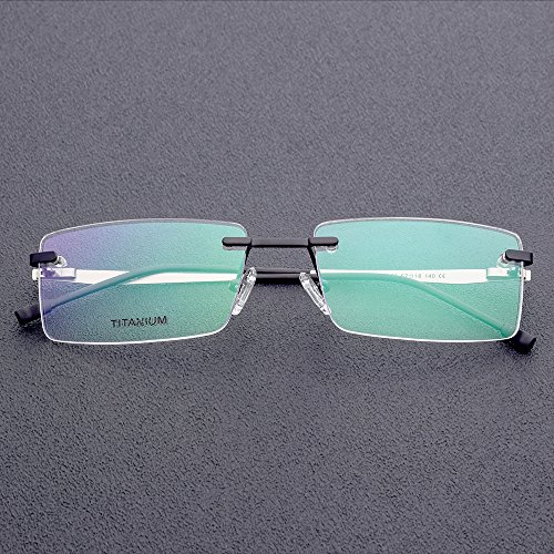 6f899323110 FONEX Titanium Alloy Rimless Square Glasses Frame Prescription Eyeglasses  8828