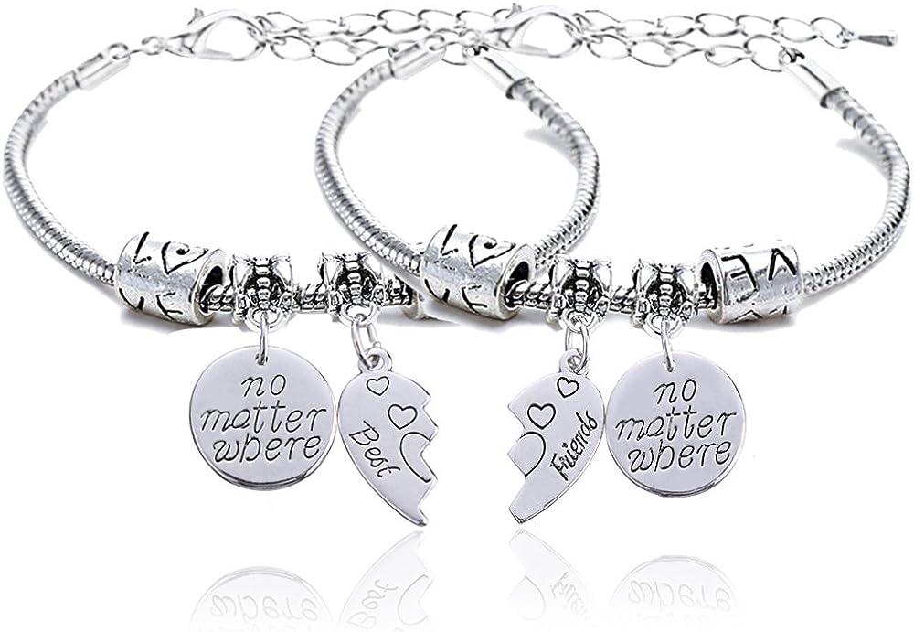 lauhonmin 2pcs BBF Best Friends No Matter Where Compass Split Broken Heart Double Bracelets Set Friendship Gift