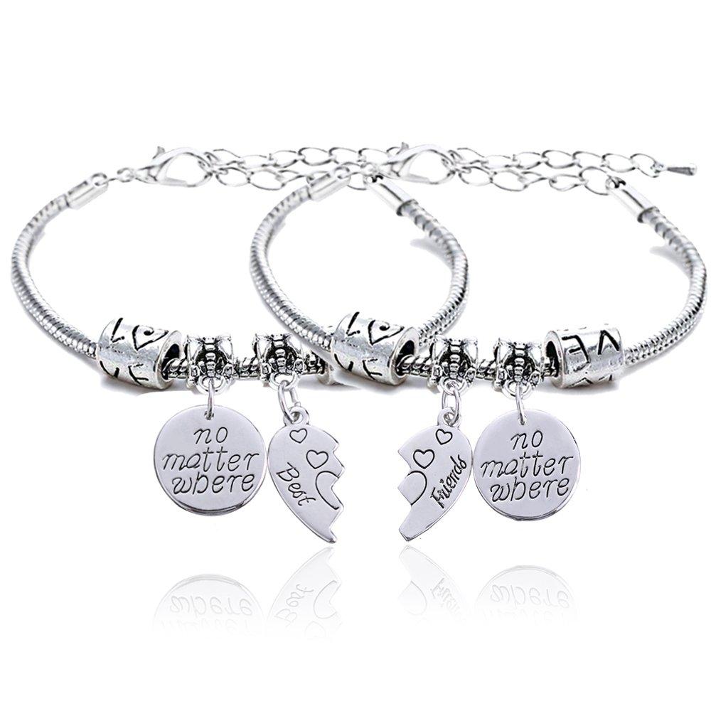 2pcs BBF Best Friends No Matter Where Compass Split Broken Heart Double Bracelets Set Friendship Gift Lauhonmin B0722