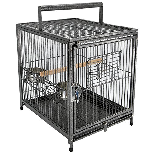 "PawHut 22"" Heavy Duty Wrought Iron Travel Bird Cage Carrier with Handle Perch and Accessories - Black"