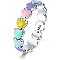 Qings Anillo de Corazón Arcoíris Corazón Colorido a Corazón Amor Sin Fin Anillo de Moda Exquisito de Plata Esterlina 925…