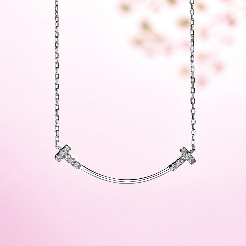 CS-DB Jewelry Silver T Shape Smile Chain Charm Pendants Necklaces