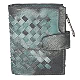 Women's Cards Holders Weave Small Bifold Button Closure Wallet Coins Pocket (Green)