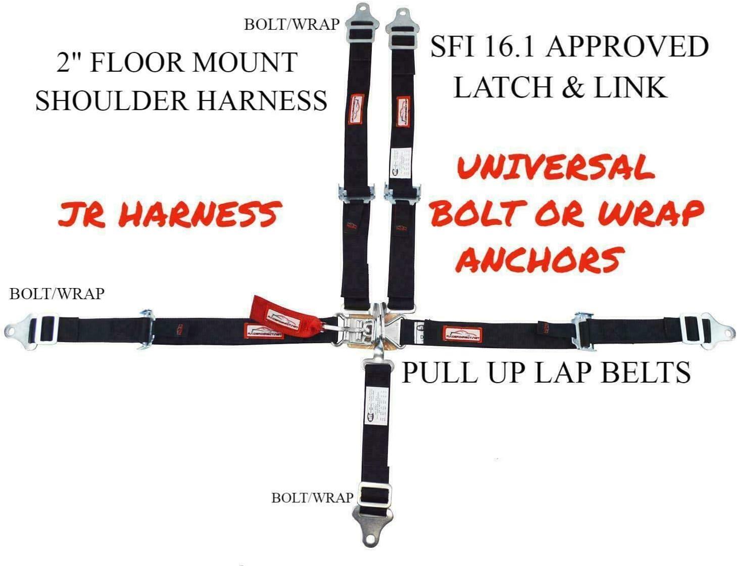 UNIVERSAL RACE HARNESS 5 POINT LATCH /& LINK FLOOR MOUNT SEAT BELT SFI 16.1