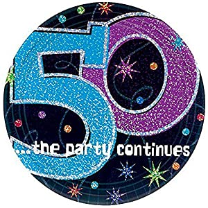 """50 ...the party continues"" 9"" Prismatic Plates, Party Favor"