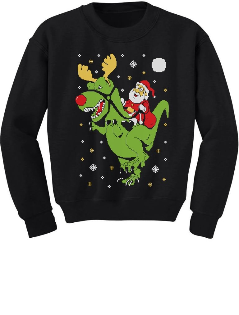 T-Rex Santa Ride Funny Ugly Christmas Sweater Toddler/Kids Sweatshirts GhPhrh0gf5