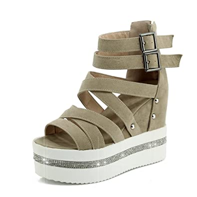 e5d1ccc2c3 Sex Yprey Womens Sandals Gladiator Shoes High Heel Platform Shoes with  Rhinestones Beige Size: 5.5