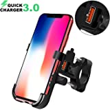 BlueFire Motorcycle Phone Mount Waterproof Cell Phone Holder 360°Adjustable Motorbike Handlebar Phone Holder with QC 3.0…