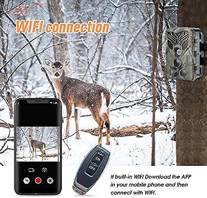 SUNTEKCAM WiFi App C/ámara de Caza 20MP 1080P con Dise/ño Impermeable IP66 C/ámara de Fototrampeo con Detecci/ón de Acci/ón LED IR Sin Brillo para Seguimiento Cineg/ético de Fauna
