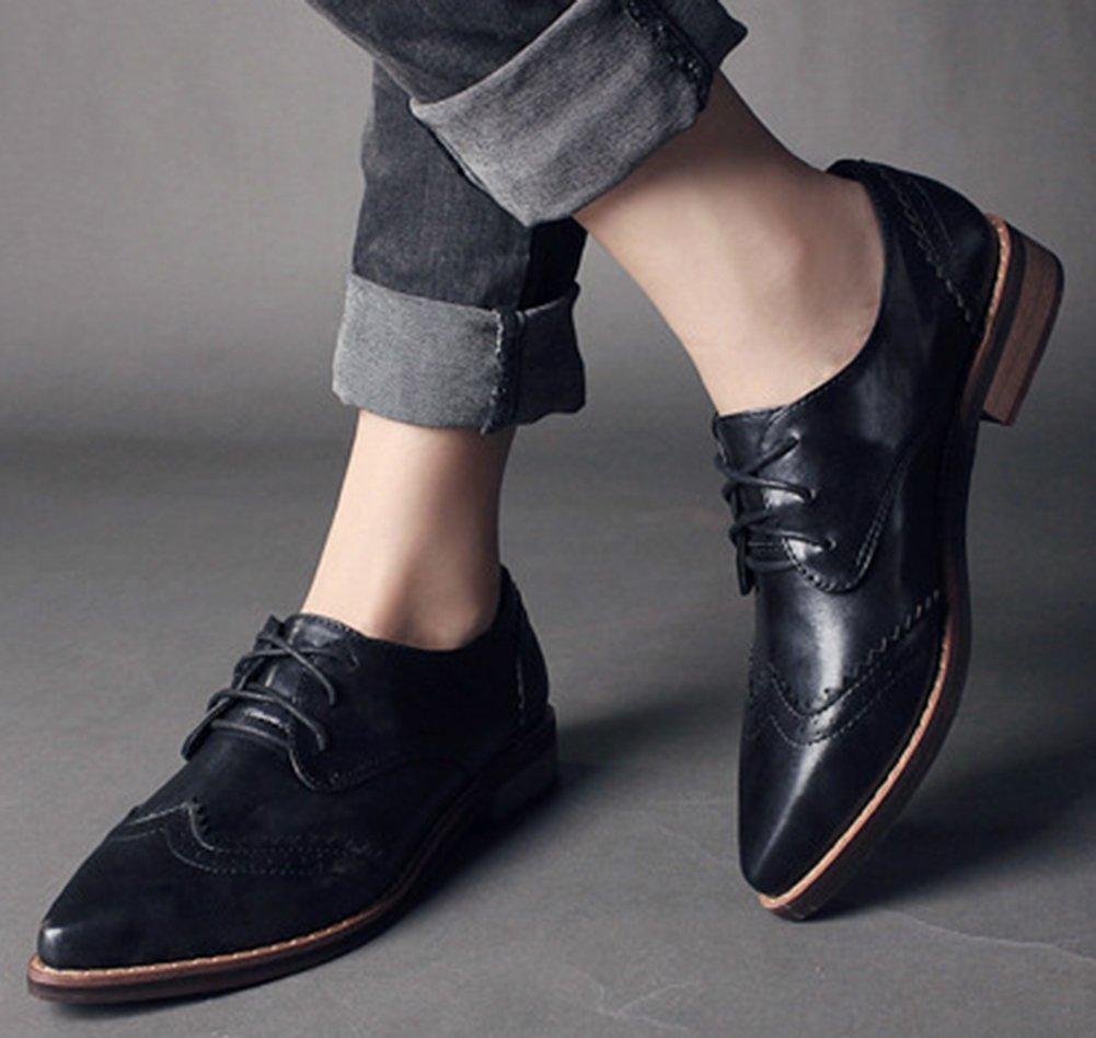 IDIFU Women's Classic Low Chunky Heels Wingtip Lace Up Oxfords Shoes Black 7.5 B(M) US by IDIFU (Image #5)