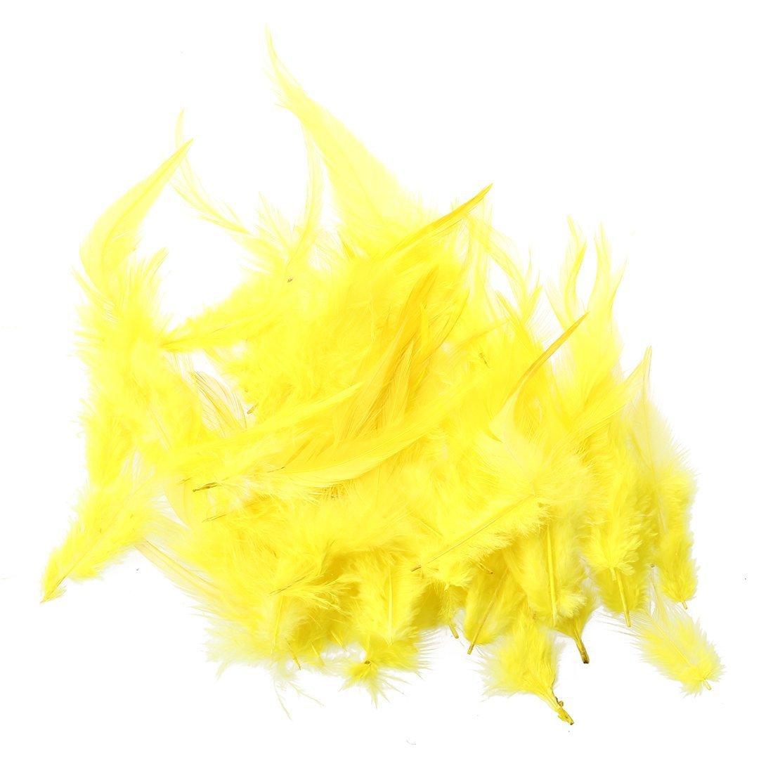 50 PCS De Plumas De Gallo Tenidas Para Decoracion 10-15 Cm SODIAL R Amarillo